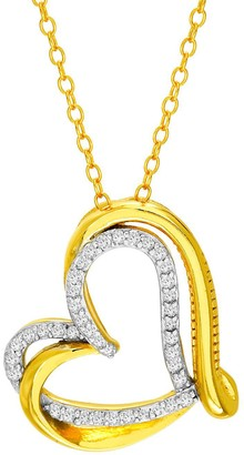 Sterling Silver 1/4ct. T. W. Diamond Double Heart Necklace