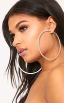 PrettyLittleThing Silver Oversized Diamante Hoop Earrings