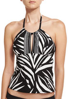 LaBlanca La Blanca High-Neck Printed Tankini Swim Top, Black/White