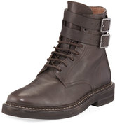 Brunello Cucinelli Buckle-Strap Leather Hiking Boot