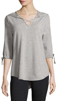 Nanette Lepore Tie-Sleeve Hooded Top