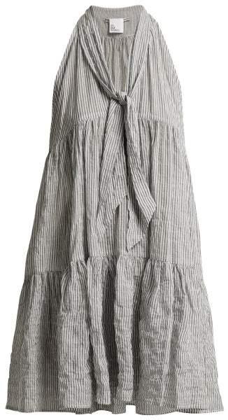 Lisa Marie Fernandez Striped Tiered Cotton Sundress - Womens - Black Stripe