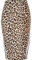 River Island Womens Brown leopard print stripe panel pencil skirt