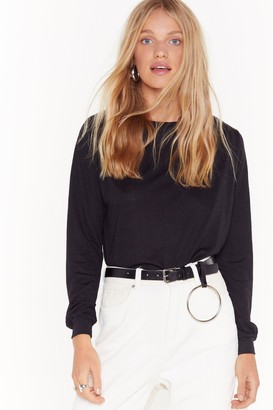 Nasty Gal Womens Relaxed Long Sleeve T-Shirt with Boat Neckline - Black
