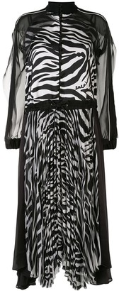 Sacai Pleated Zebra Print Dress