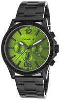 Caravelle NY 45A107 Men's Chronograph Black IP SS Green Dial Black IP SS