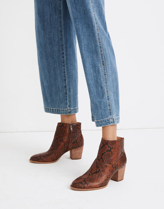 Madewell The Rosie Ankle Boot in Snake Embossed Leather