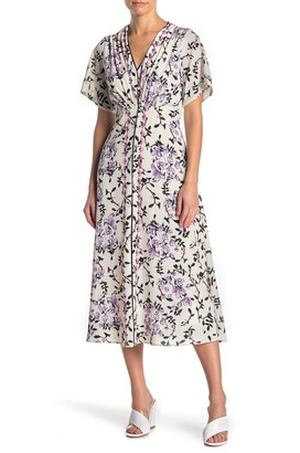 Gabby Skye Short Sleeve Front Button Crepe Floral Midi Dress