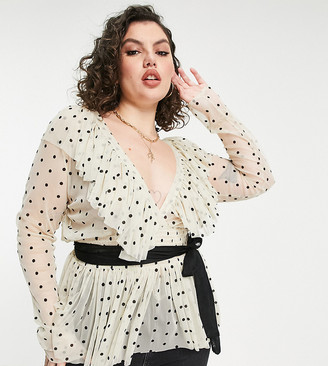 Lace & Beads Plus ruffle blouse with contrast black tie waist in cream polka dot