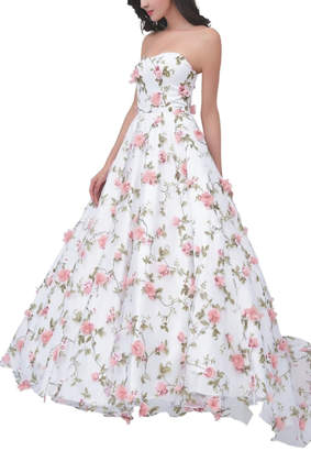 Jadore Floral Strapless Gown