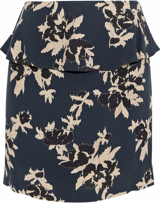 Ganni St. Pierre Floral-print Crepe De Chine Peplum Mini Skirt
