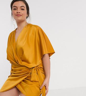ASOS DESIGN Curve wrap kimono mini dress with tie waist in ochre