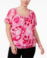 INC International Concepts Plus Size Floral-Print Peasant Top, Only at Macy's