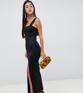 Asos DESIGN Petite Square Neck Maxi Dress with Thigh Split-Black