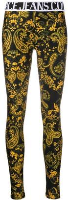 Versace Baroque-Print Slim-Fit Leggings