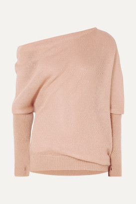 Tom Ford Off-the-shoulder Mohair And Silk-blend Sweater - Blush