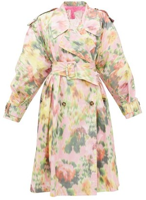 MSGM Belted Floral-print Taffeta Trench Coat - Pink Print