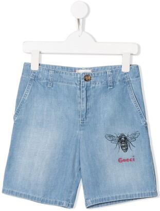 Gucci Kids bee print denim shorts