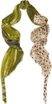 Haider Ackermann Plissé Lamé And Polka-dot Chiffon Scarf - Leopard print