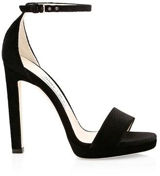 Jimmy Choo Misty Lizard-Embossed Velvet Ankle-Strap Sandals