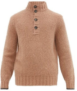 Brunello Cucinelli Button Front Alpaca Blend Sweater - Mens - Camel