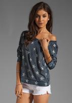 Current/Elliott The Letterman Sweatshirt in Indigo with Stars