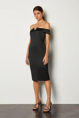Karen Millen Italian Structured Satin Bardot Dress
