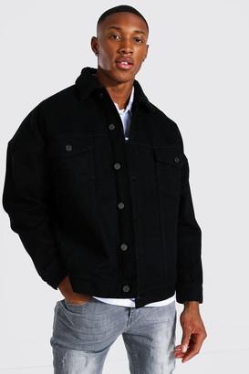 boohoo Mens Black Oversized Borg Lined Denim Jacket, Black