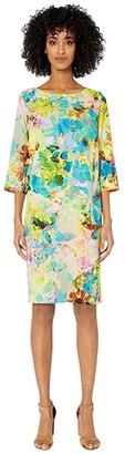 Fuzzi Cady T-Shirt Knee Length Campo Di Fiori Print Dress (Limpido) Women's Dress