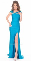 Atria Ruched Mermaid Leg Slit Prom Gown