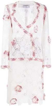 Chanel Pre Owned Patchwork Floral-Lace Suit