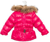 Lili Gaufrette Girls' Fur-Trimmed Down Coat w/ Tags