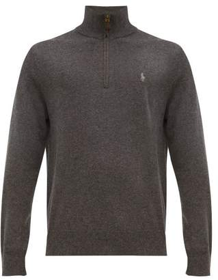 Polo Ralph Lauren Logo Embroidered Zipped Funnel Neck Merino Sweater - Mens - Grey