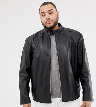 Jacamo Plus leather biker jacket-Black