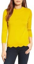 Halogen Petite Women's Scallop Edge Sweater