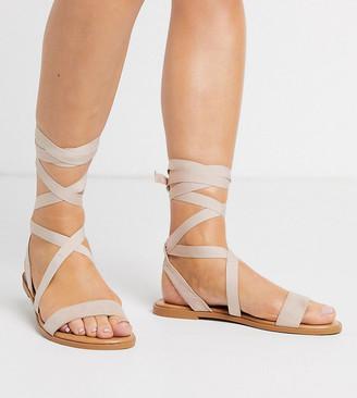 ASOS DESIGN Wide Fit Finland tie leg flat sandals in beige