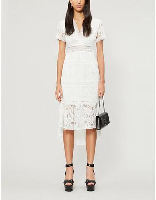 The Kooples V-neck stretch-lace midi dress