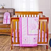 Dream On Me Pink Butterfly and Flower 5-Piece Reversible Portable Crib Bedding Set