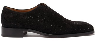 Christian Louboutin Corteo Crystal-studded Suede Oxford Shoes - Black