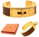 Hermes Vintage Gold Toned Lizard Leather Cuff Bangle Bracelet