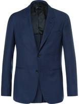 Caruso Blue Butterfly Slim-fit Unstructured Wool-hopsack Blazer - Navy