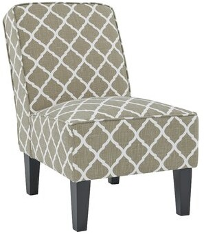 "Charlton Home Ferebee 22.5"" Slipper Chair Fabric: Barley Tan and Creamy White Trellis"