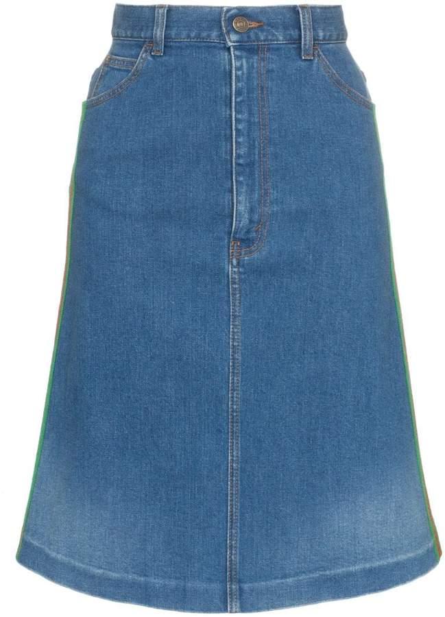 Gucci contrast side stripe A-line denim skirt