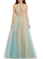 Glamour by Terani Couture High Neck Illusion-Inset Beaded Bodice Two-Tone Ball Gown