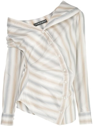 Y/Project Off The Shoulder Striped Shirt