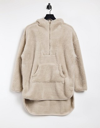 Only teddy hoodie with zip neck in beige