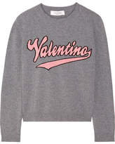 Valentino Intarsia Wool And Cashmere-blend Sweater - Gray