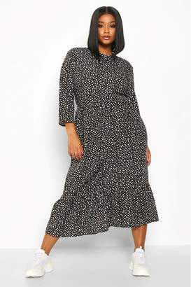 boohoo Womens Curve Polka Dot Ruffle Hem Midi Dress - Black
