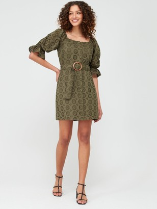 Very Broderie Button Through Pencil Dress - Olive