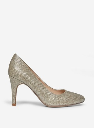 Dorothy Perkins Womens Wide Fit Gold 'Deedee' Court Shoes, Gold
